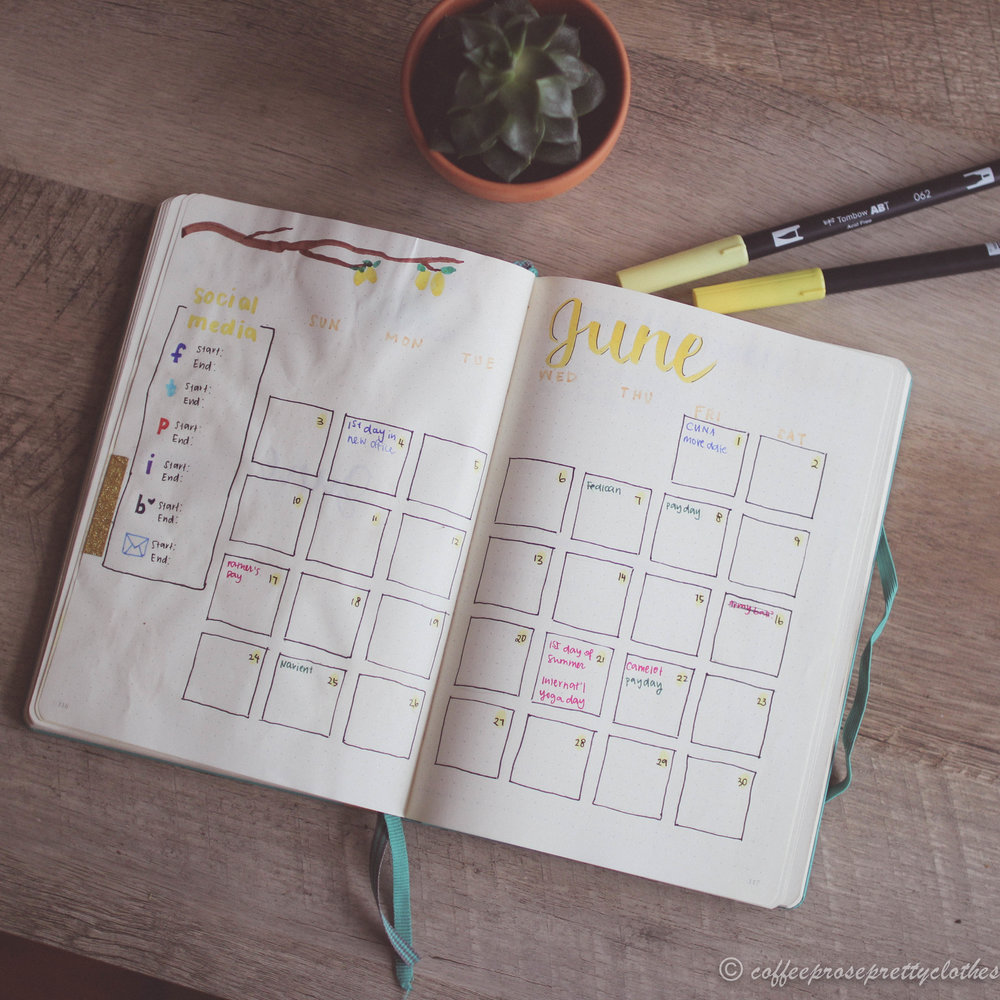 June 2018 Bullet Journal Calendar