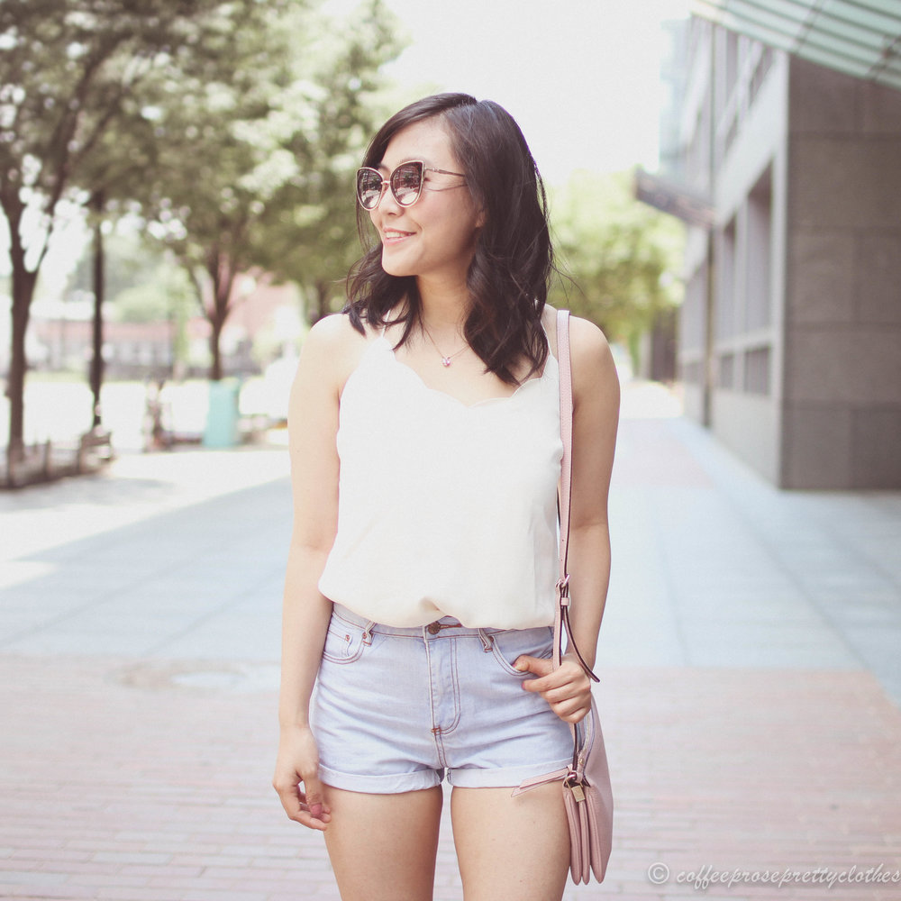 Scalloped Cami and High Waisted Shorts