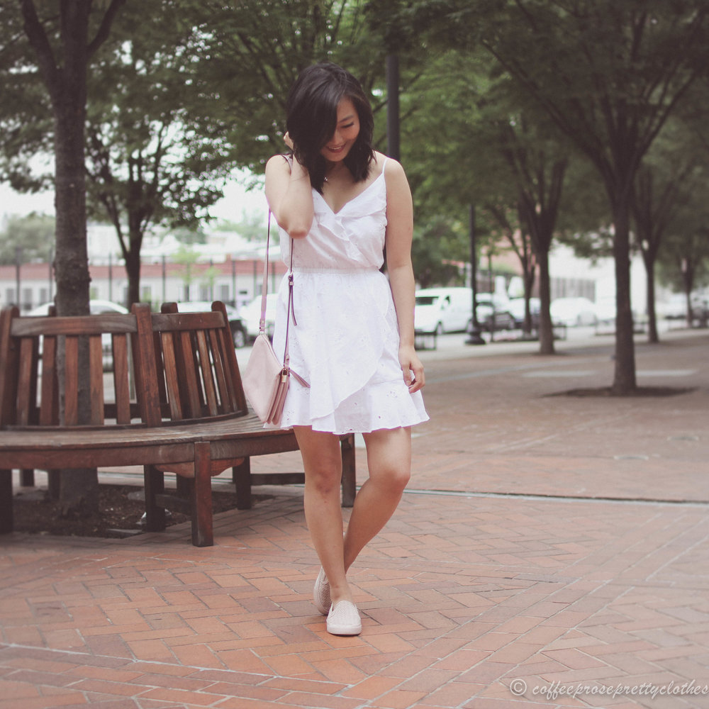 Little White Dress and Perforated Sneakers