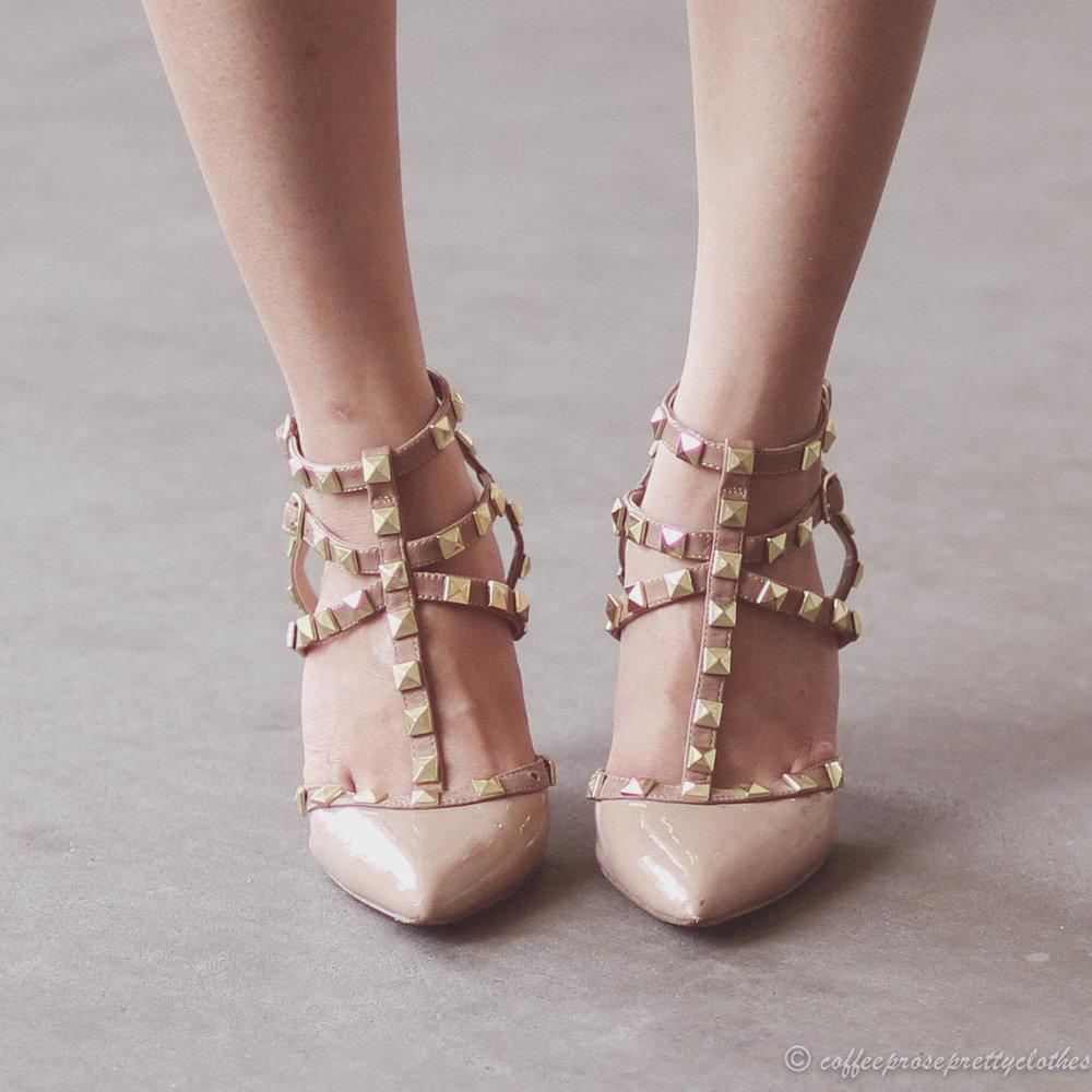 Wiggle Dress and Studded Heels