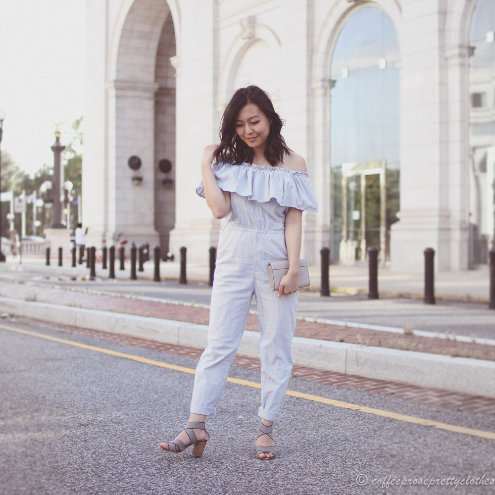 Striped Jumpsuit and Comfy Sandals