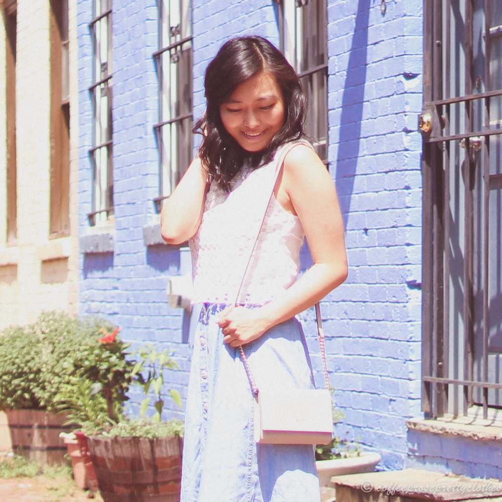 Button Front Midi and Lace Crop Top