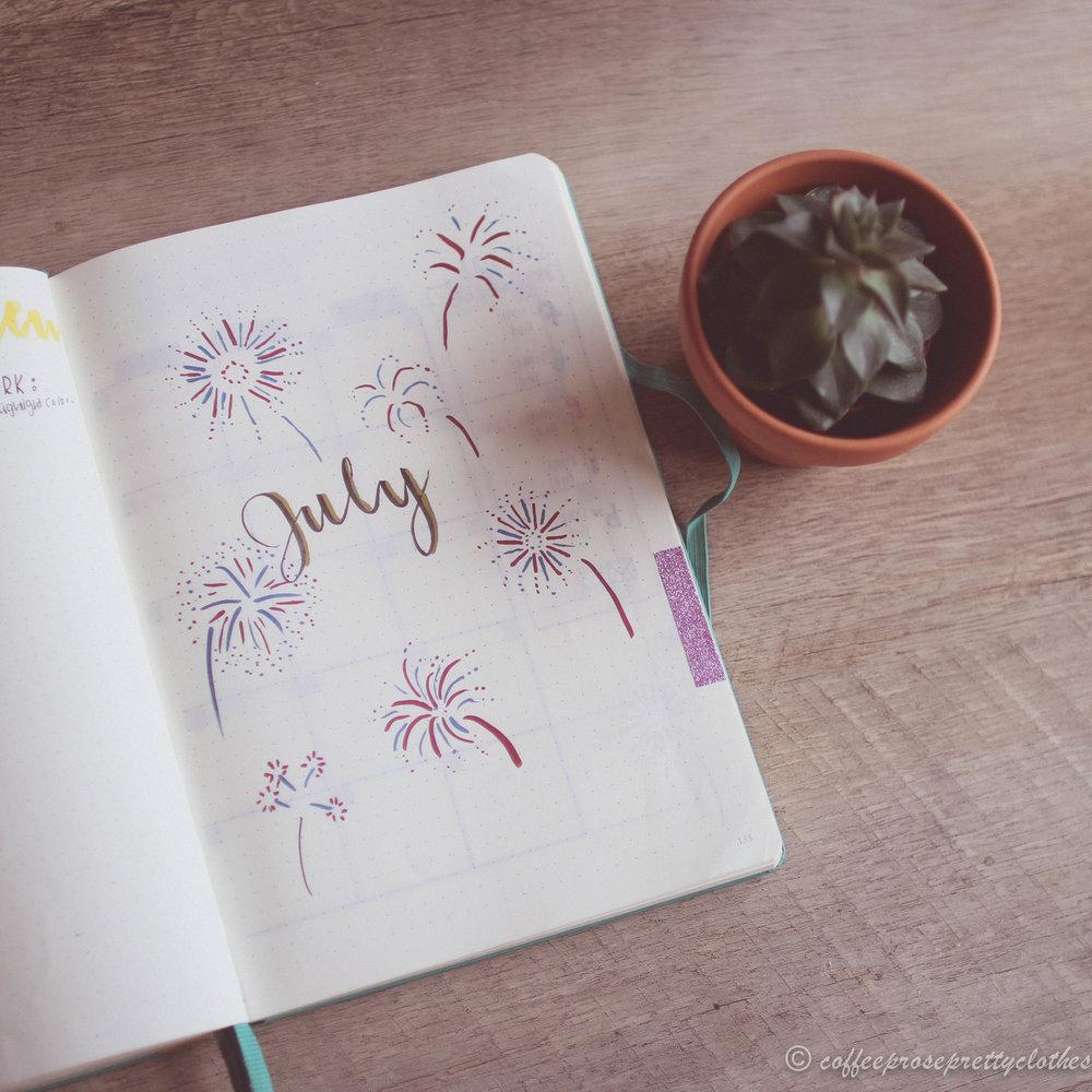 July Bullet Journal fireworks theme