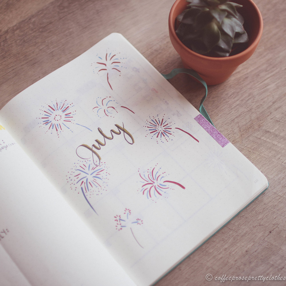 July Bullet Journal fireworks theme