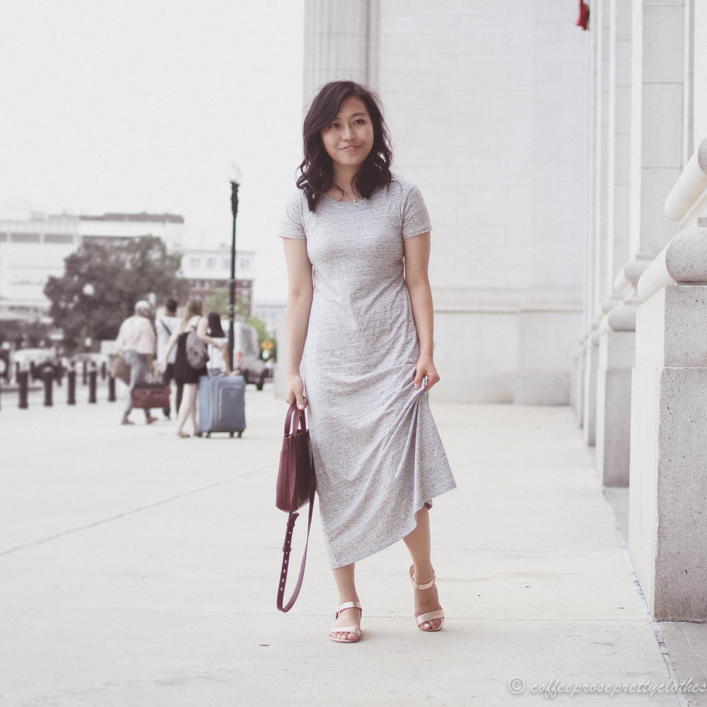Uniqlo T-Shirt Dress and Rose Gold Sandals