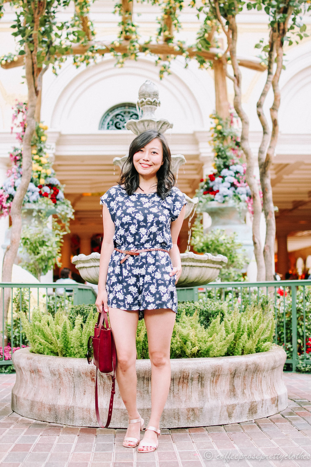Floral Romper and Burgundy Bag