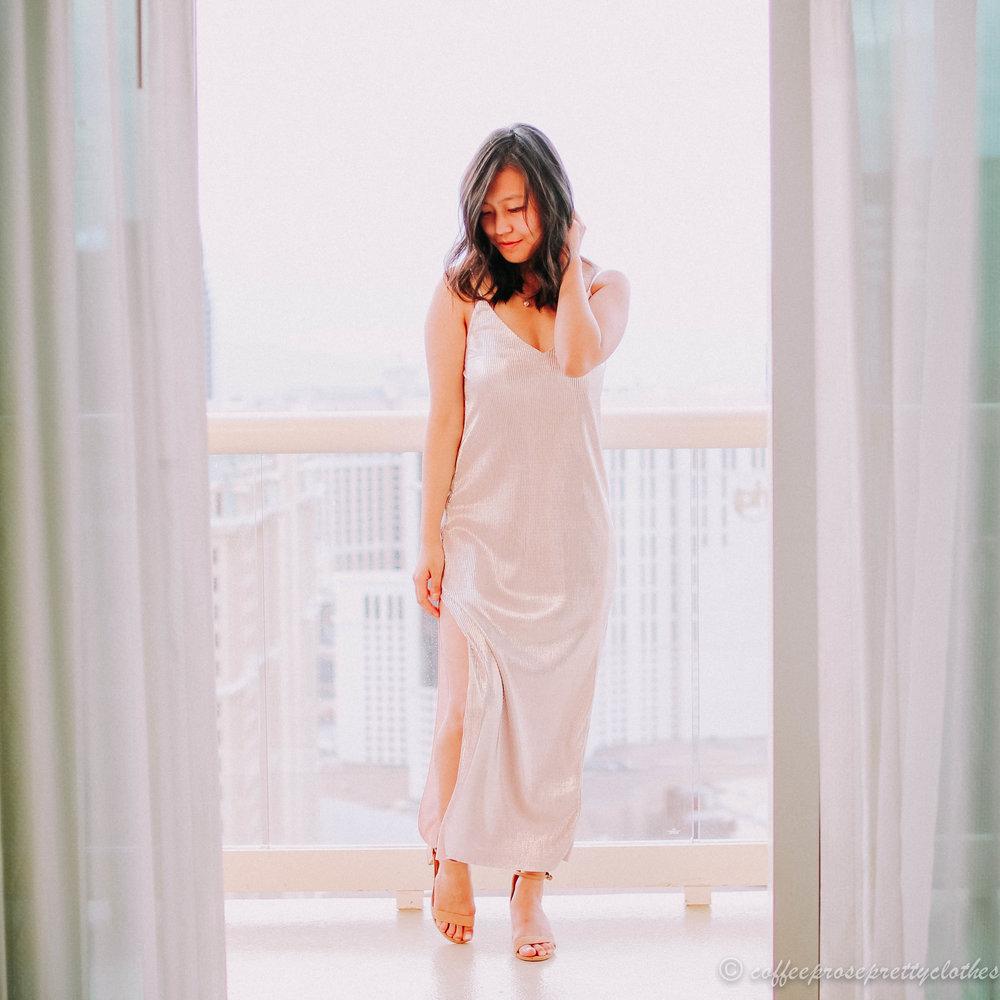 Cami Dress and Block Heels
