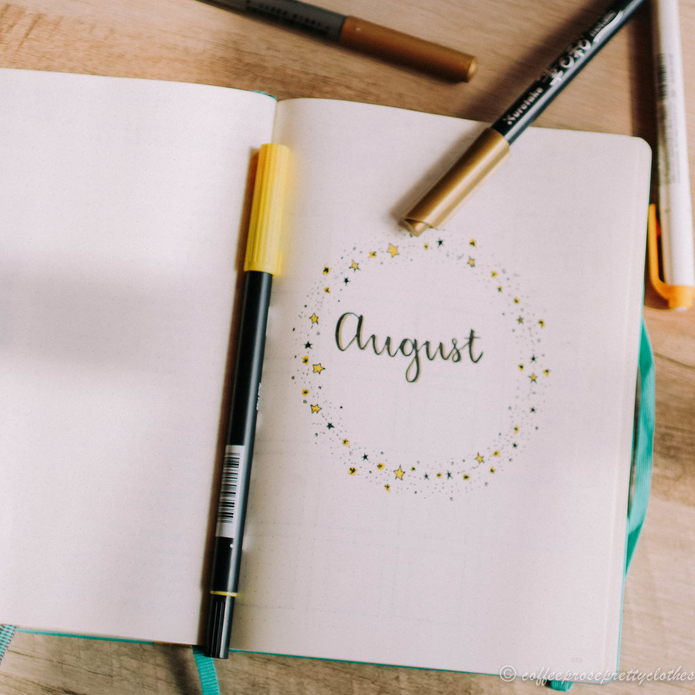 August Bullet Journal Planning Star Theme