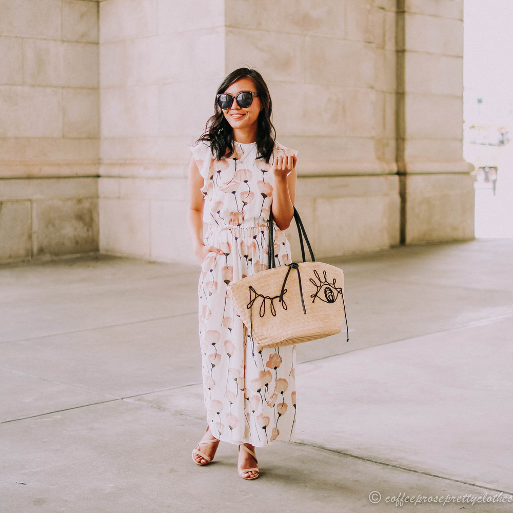 Aritzia Wilfred Fleurette Jumpsuit and H&M straw bag