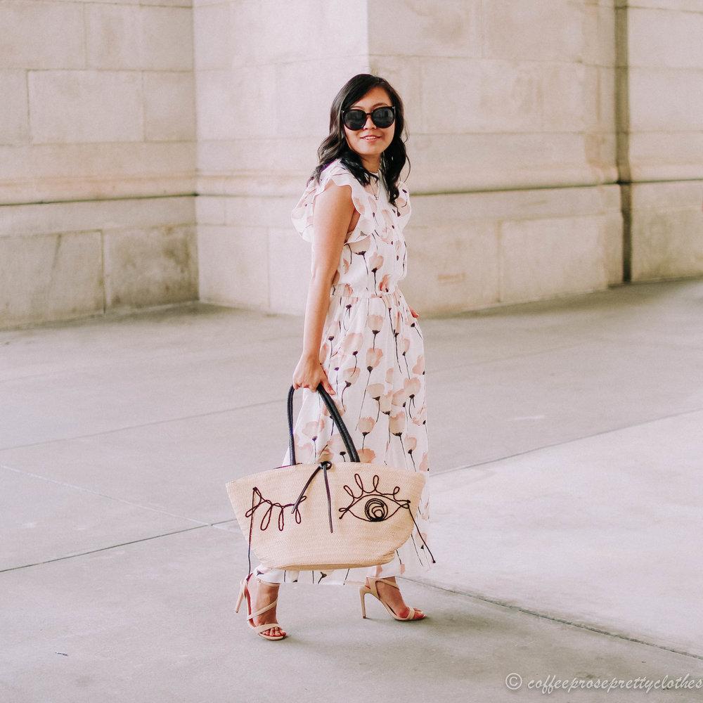 Aritzia Wilfred Fleurette Jumpsuit and H&M straw bag