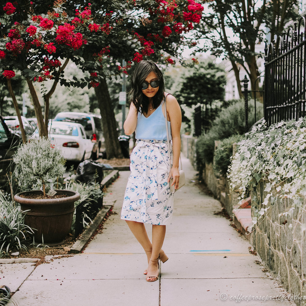 Floral Tie Waist Midi and Strappy Cami
