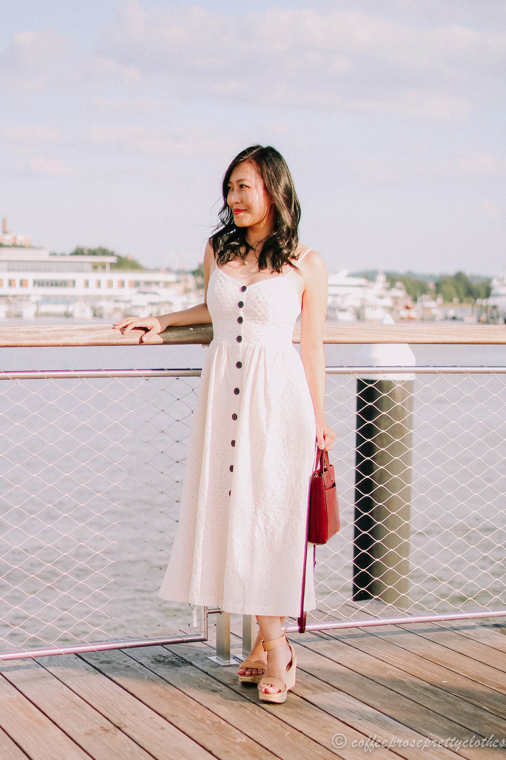 Eyelet Dress and Woven Wedges