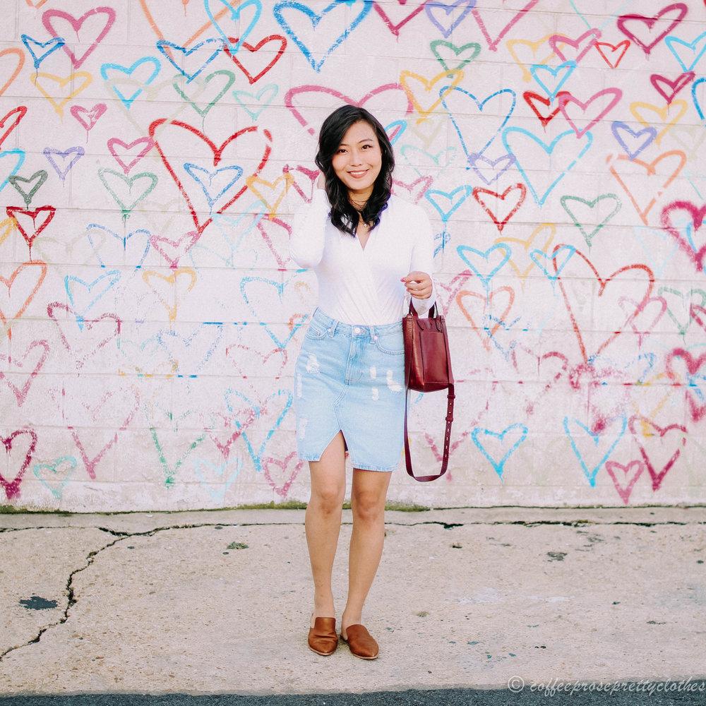 Denim Skirt and Wrap Bodysuit