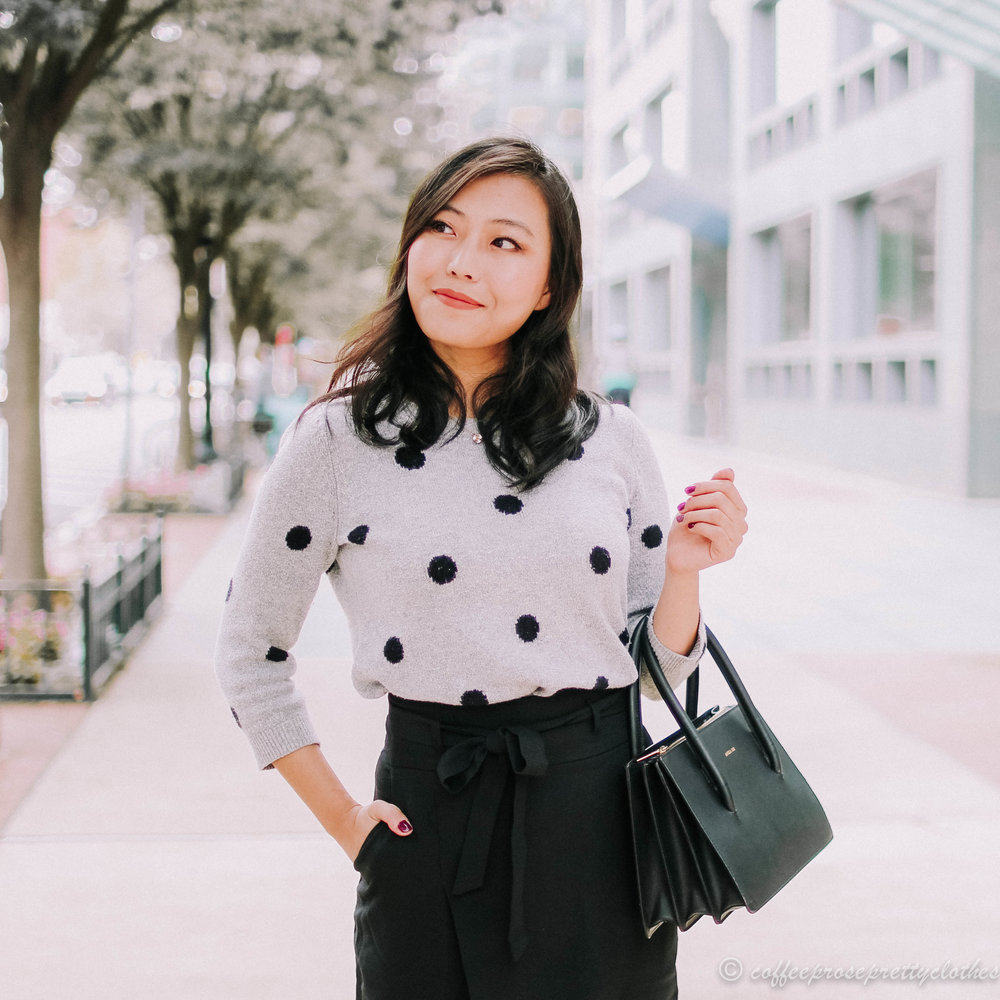 Polka Dot Sweater and Wrap Skirt