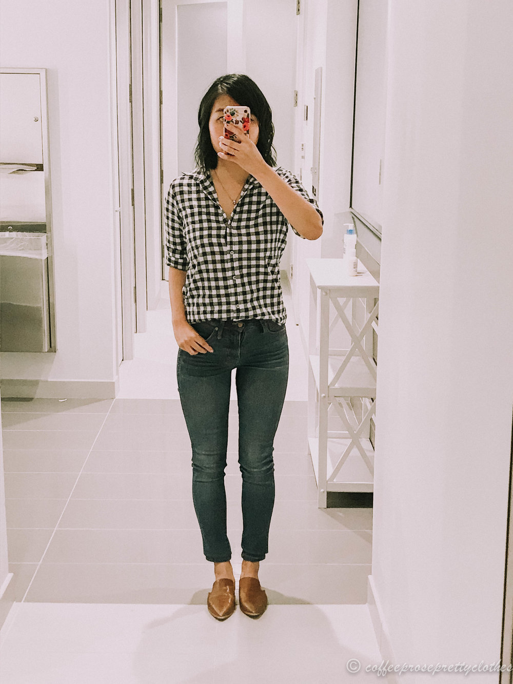 Gingham shirt and high waisted jeans
