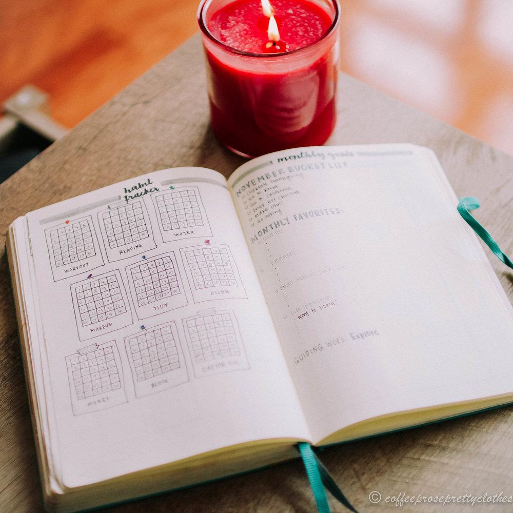 November travel theme bullet journal habit tracker