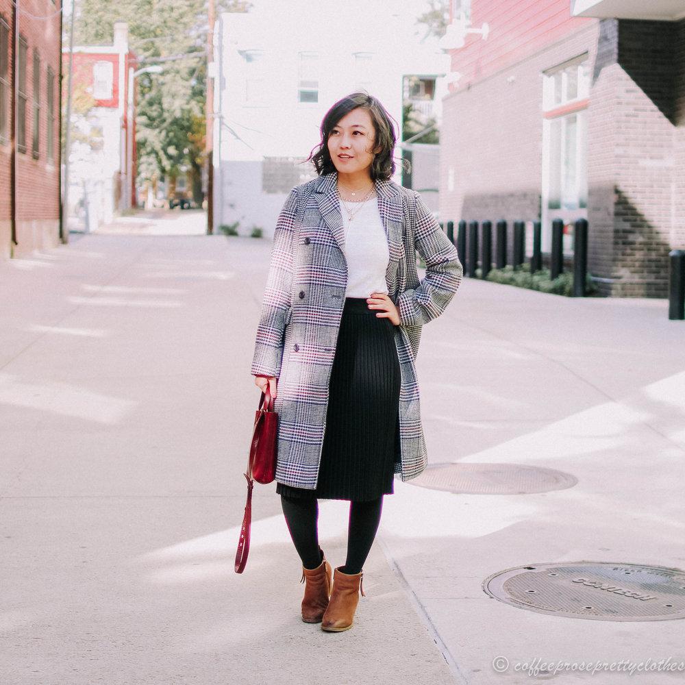 GAP plaid coat outfit