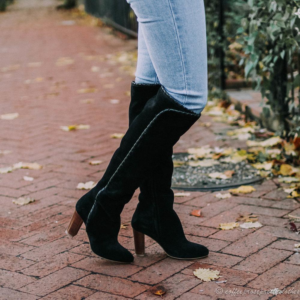Sézane Eduardo Jumper, Sézane High Gabriella boots, and Everlane Jeans