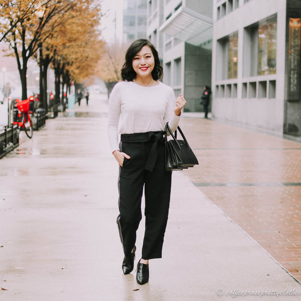 Athleisure Trousers and Pointed Booties