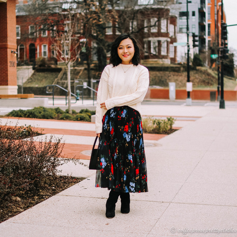 Tradland's Fisher's Sweater and Aritzia Floral Midi, and Sézane High Gabriella boots