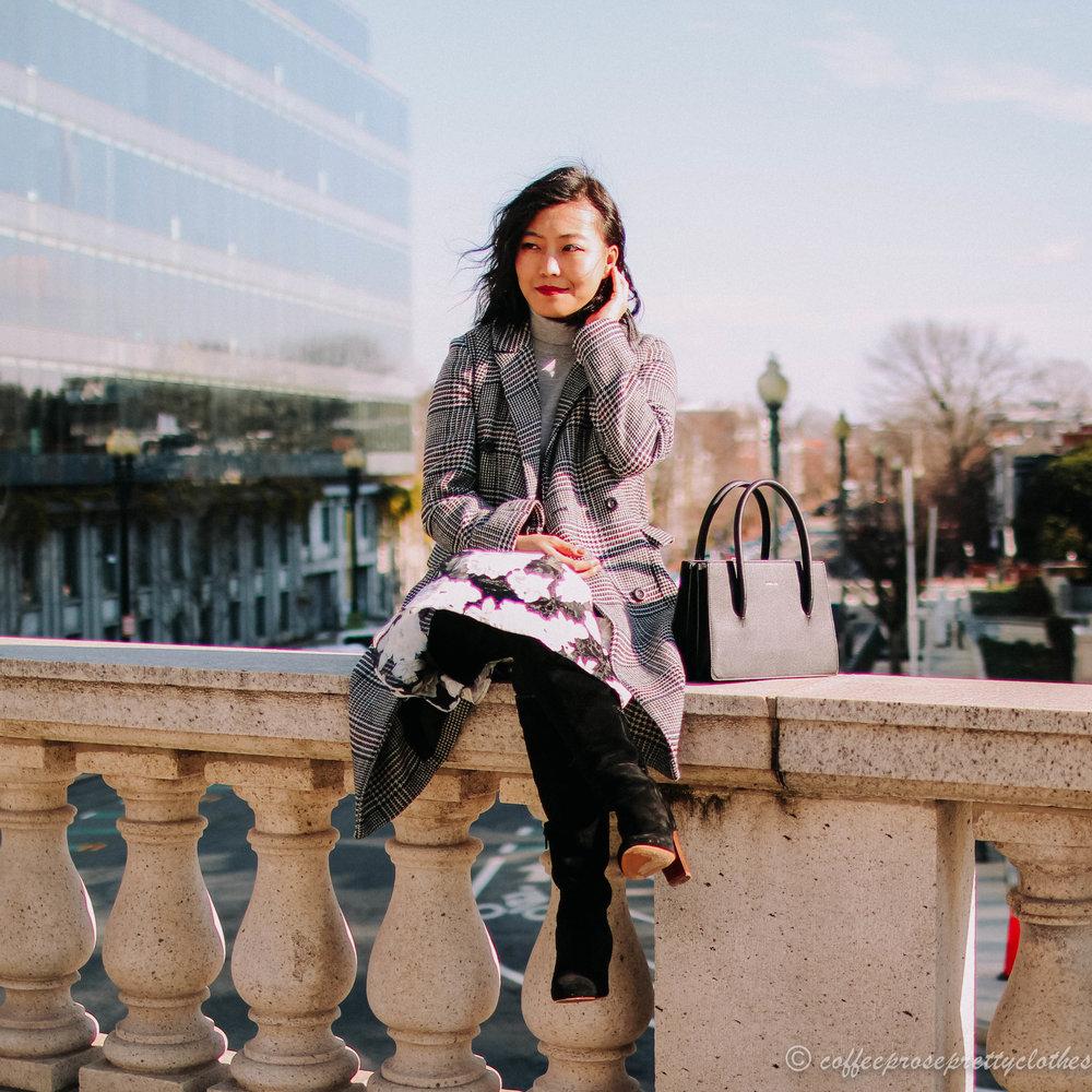Turtleneck Sweater, Plaid Coat, and Floral Midi Skirt