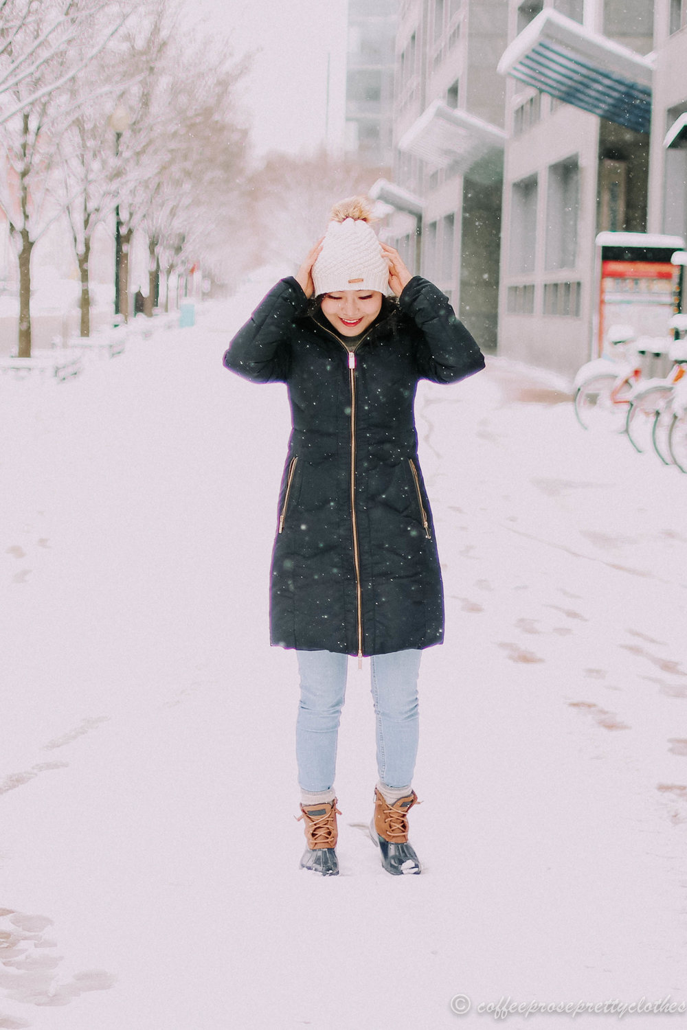 Navy Parka and Sperry Duck Boots