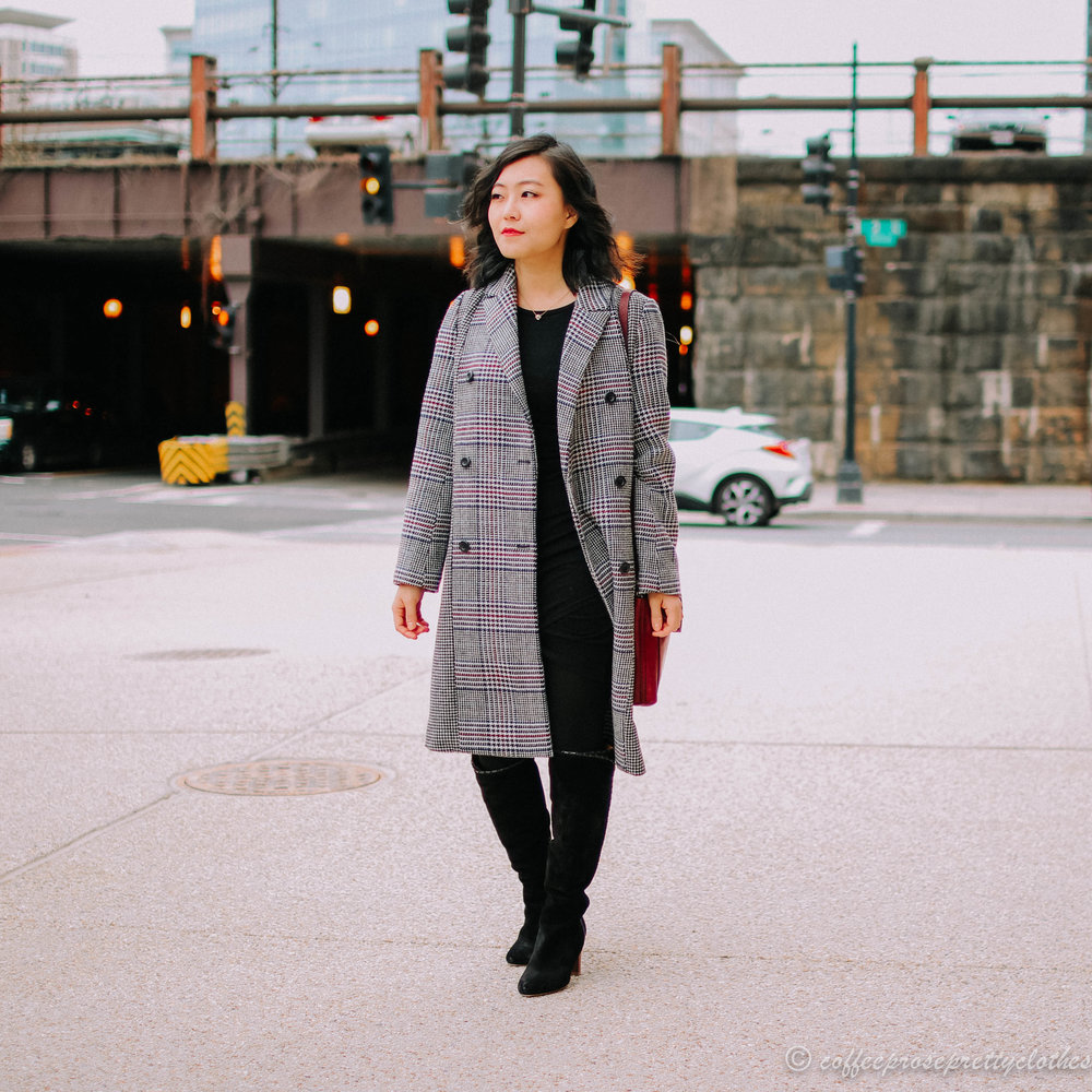 Leith Dress and Plaid Coat