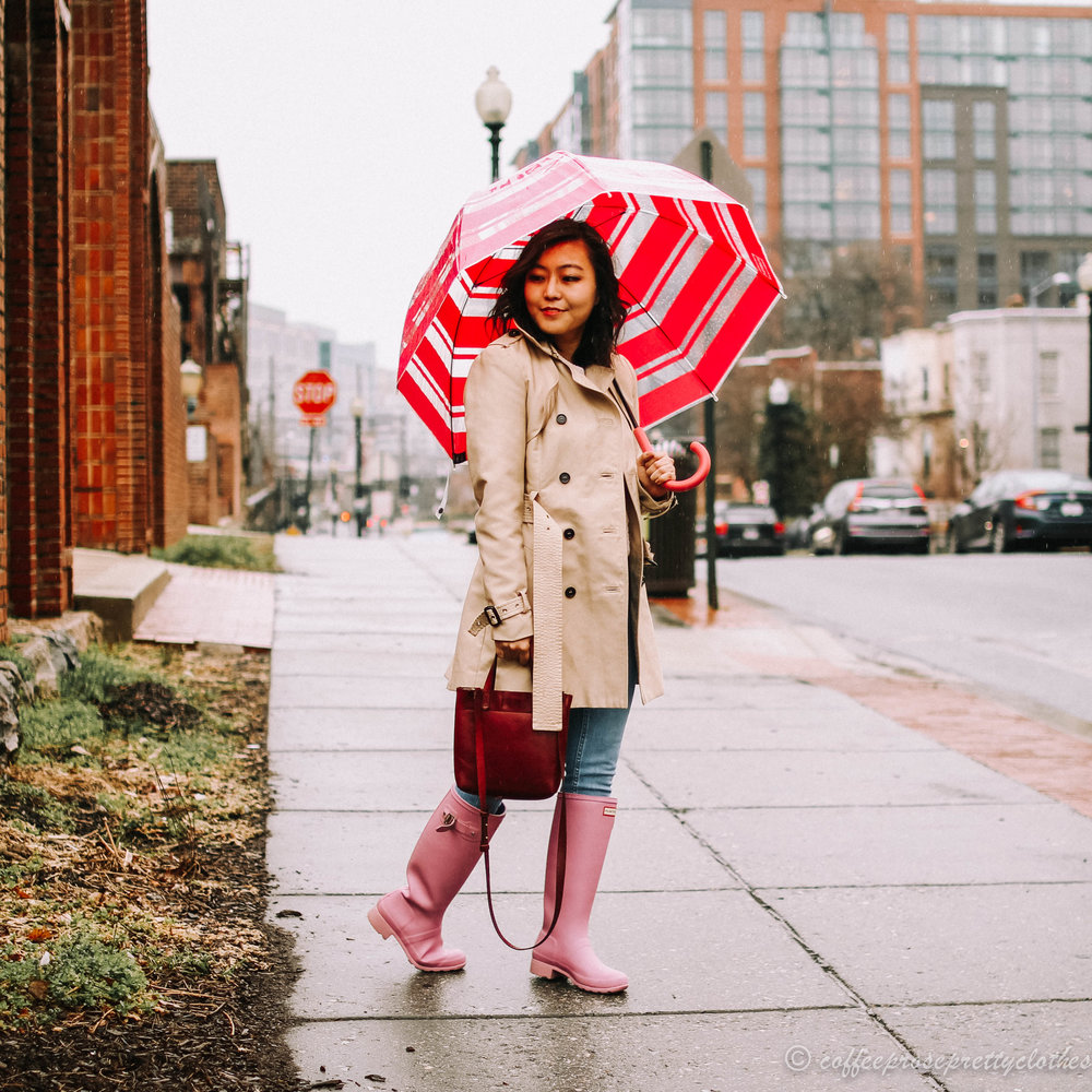 Classic Trench Coat and Lavender Hunter Boots