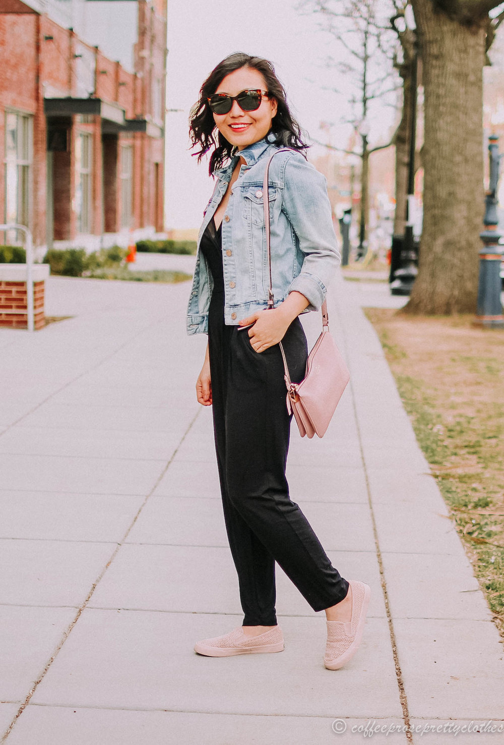 Black Jumpsuit and Denim Jacket