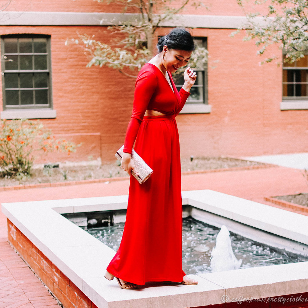 Red Ball Gown and Glitter Clutch