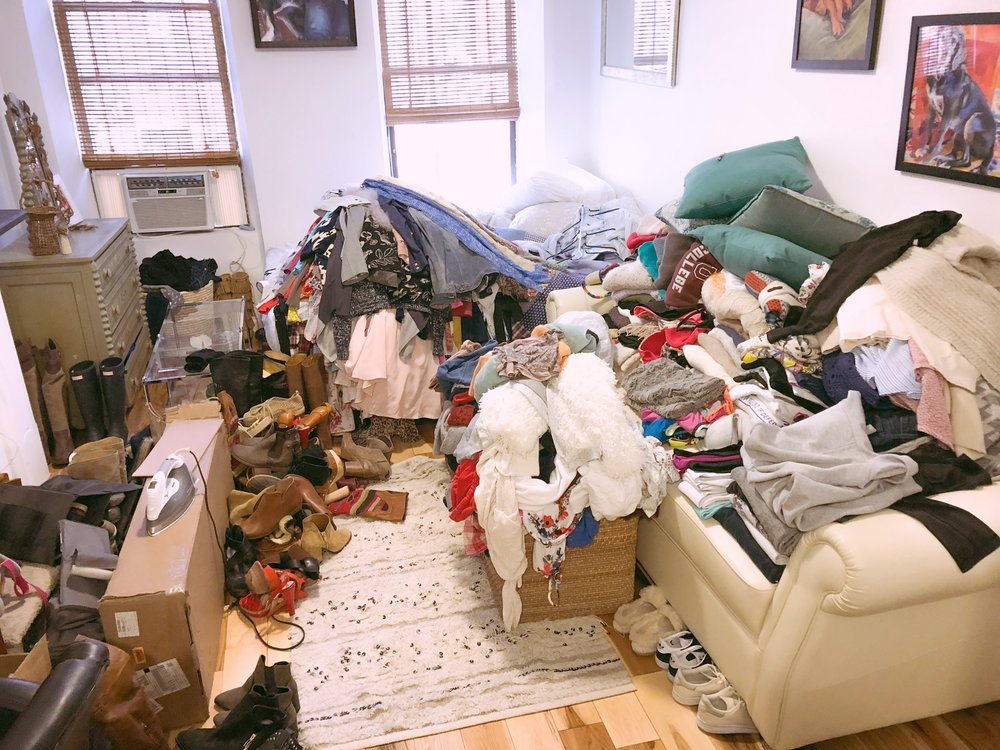Create More Storage in Your NYC Studio Apartment - This is the before picture. The after picture will make all of your type-A senses tingle.