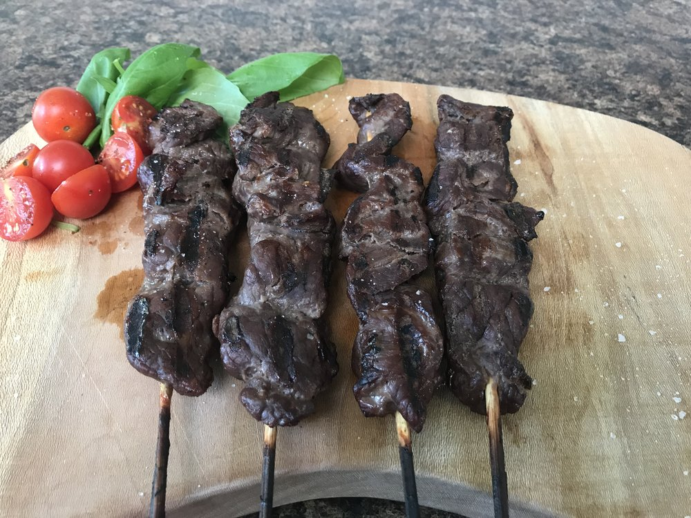 Are you getting hungry just thinking about our skewers? Place an order for yours today! Call 587-225-2477 or email info@gemstonegrassfedbeef.com. -