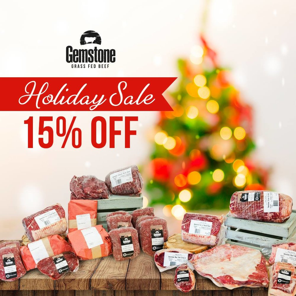 Order everything you need to make your NYE party festive! Shop our online store for premium cuts of grass fed beef. We're offering 15% off our Beef Staples Box and our Beef Smoker Box! Use promo codes: SMOKER15 & STAPLE15 at checkout! - Offer expires December 31, 2018