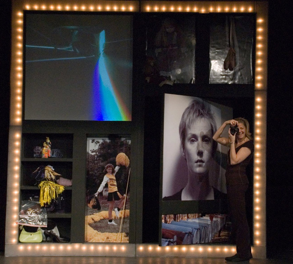 Rewind (2006-2007)    Using projections, narrative, voiceover, and fractured time/space elements, REWIND collages the experiences that led an enthusiastic cheerleader and ballerina to life as prison inmate 0423358 and the tensions that erupt with her release.