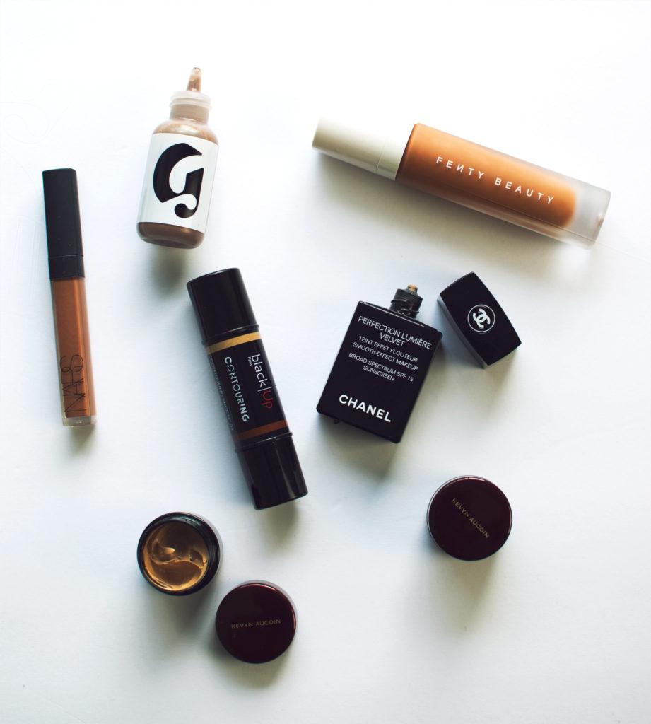fenty beauty glossier chanel kevyn aucoin foundation colors for darker skin