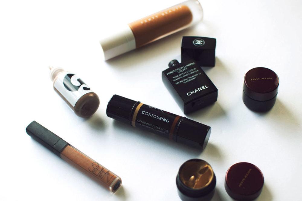 fenty beauty glossier chanel kevyn aucoin foundations for darker skin
