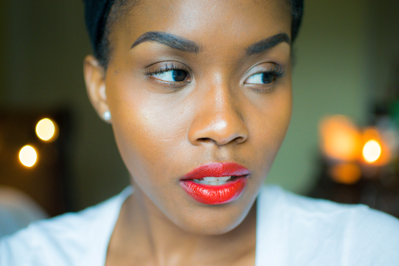 black beauty blogger female red lips