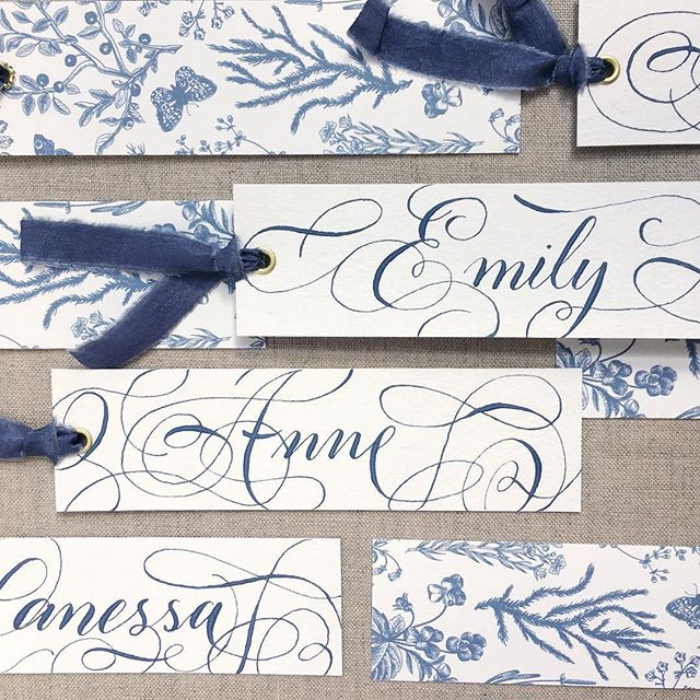 Pretty blue bookmarks and silk ribbon...yes, please! 💙 . . . . . . #savannahcalligraphy #savannahcalligrapher #moderncalligraphy #moderncalligrapher #georgiacalligrapher #georgiawedding #lowcountryweddings  #weddinggift #weddingdetails #weddingcalligraphy