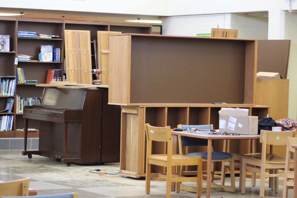 Working in first library at Richard Wright Elementary not only no books needed to fix and clear space