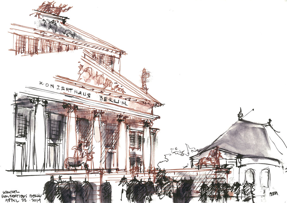 Pen and Ink Perspective Illustration Konzerthaus Berlin