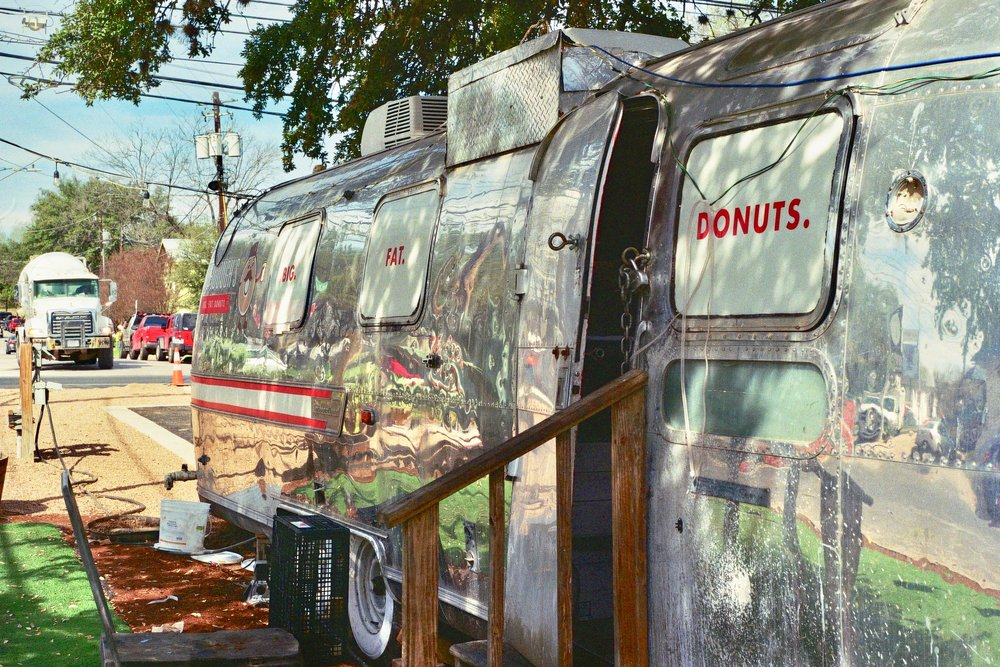 Big Fat Donuts, a donut-serving Airstream with donuts lathered in everything from bacon to strawberry jam to fried chicken.  Austin, TX