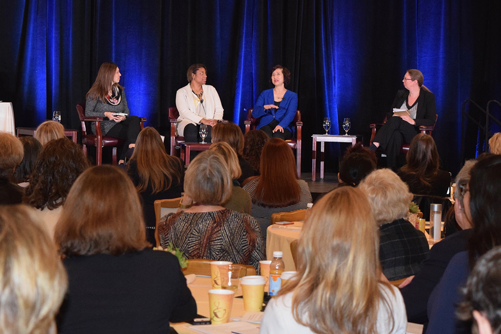 (From L to R) Dawn Lippert, CEO of Elemental Excelerator; Carla Peterman, commissioner of the California Public Utilities Commission; Connie Lau, president and CEO of Hawaiian Electric Industries, Inc.; and Erica Mackie, co-founder and CEO of GRID Alternatives, speak at the 7th Annual C3E Women in Clean Energy Symposium, discussing the importance of community engagement in the transition to a low-carbon future. Credit: Maxine Lym
