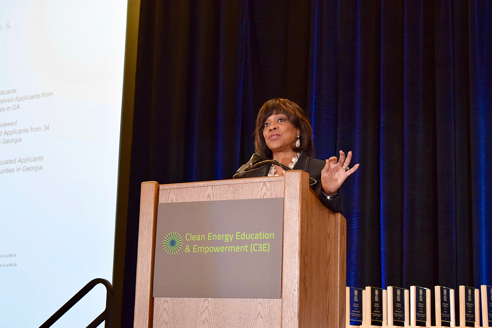 Valerie Montgomery Rice, president and dean of Morehouse School of Medicine, delivers a keynote addressing the need to develop a more diverse workforce. Credit: Maxine Lym