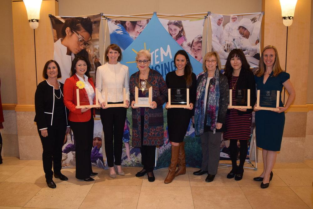 From left: Dian Grueneich, awardee Melanie Santiago-Mosier, awardee Libby Wayman, Elizabeth Moler, awardee Tania Laden, Sally Benson, awardee Ah-Hyung (Alissa) Park and awardee Molly Morse (Credit: Maxine Lym)
