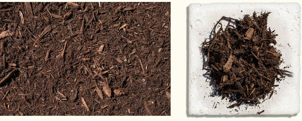 Premium Hardwood Mulch $27.99+ - Made from local native hardwood trees, shredded twice and aged to medium brown.