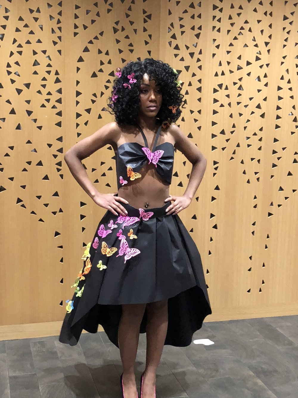 This is Valencia Hill, the model who wore and walked my paper dress down the runway