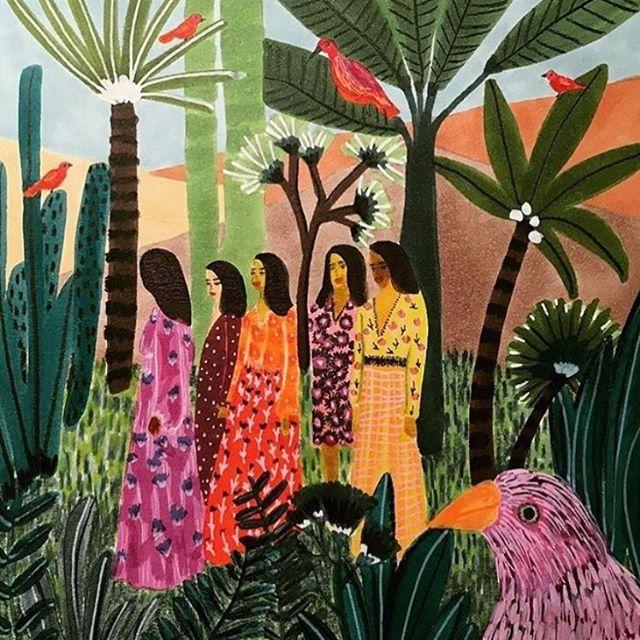 Please keep shining sisters✨ Thank you @roeqie via @broccoli_mag . . . . #art #painting #roeqie #sisterhood #humanity #broccolimag