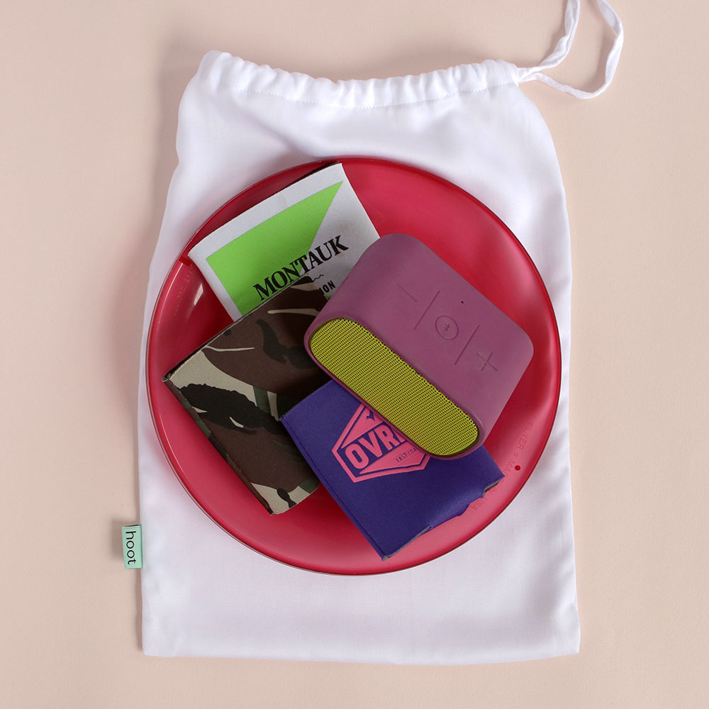"""3. - Throw one into your car trunk as a back-up """"bag of fun"""" for spontaneous day trips. Ours has a bluetooth speaker, frisbee, and Sunski sunglasses (also a 1% for the Planet member!)"""