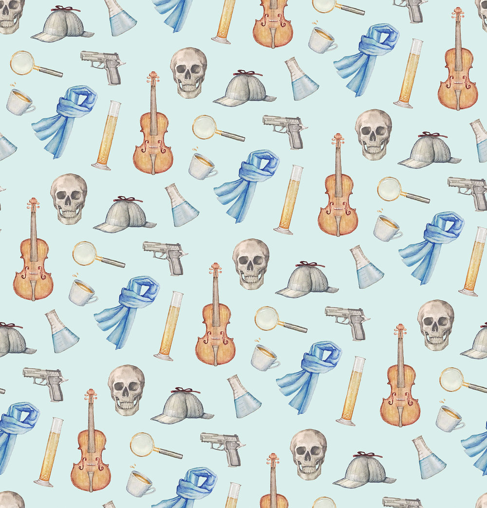 Sherlock Holmes-themed pattern, created for a freelance client.