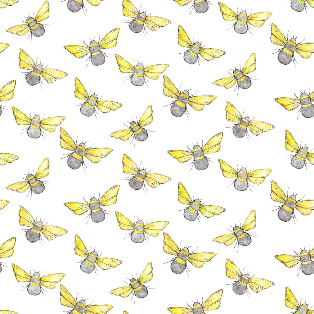 Watercolor bee pattern, created for fun.